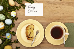Easter decoration, card, Happy Easter, cake and coffee cup Stock Photos