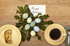 Easter decoration, card, Happy Easter, cake and coffee cup Royalty Free Stock Photo