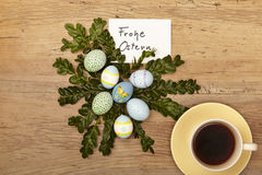 Easter decoration, card, Happy Easter and coffee cup Stock Images