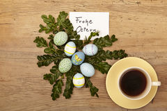 Easter decoration, card, Happy Easter and coffee cup Stock Photography
