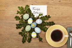 Easter decoration, card, Happy Easter and coffee cup Stock Image