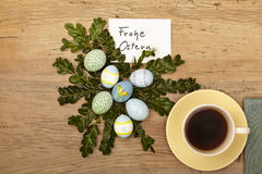 Easter decoration, card, Happy Easter and coffee cup Royalty Free Stock Photo