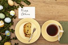 Easter decoration, card, Happy Easter, plate with cake and coffee cup Stock Image