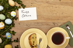 Easter decoration, card, Happy Easter, plate with cake and coffee cup Stock Photos