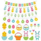 Easter decoration and cartoons set Royalty Free Stock Image
