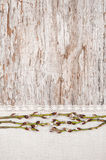 Easter decoration with catkins and linen fabric Stock Photography