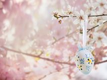 Easter decoration with cherry blossom. And Easter eggs Royalty Free Stock Photo
