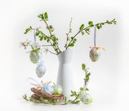Easter decoration. With cherry blossom and Easter eggs Royalty Free Stock Photography