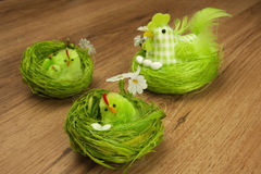 Easter decoration with chicken Stock Photos