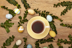 Easter decoration and coffee cup Stock Photo