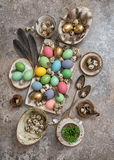 Easter decoration colored eggs birds feather. Boho style Stock Images
