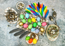 Easter decoration colored eggs birds feather Royalty Free Stock Photo