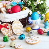 Easter decoration with colored eggs and Easter cakes Royalty Free Stock Image