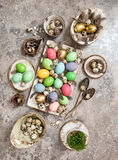 Easter decoration colored eggs Holidays background Royalty Free Stock Images