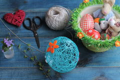 Easter decoration, colorful Easter eggs. Kids Art, Art Projects, Handmade  decorations Royalty Free Stock Photo
