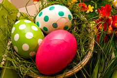 Easter decoration - colorful eggs in the basket Royalty Free Stock Image