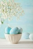 Easter decoration. Colorful easter eggs decoration in bowl Royalty Free Stock Image
