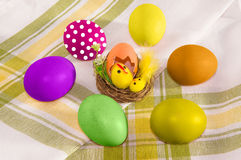 Easter decoration and colorful eggs. Royalty Free Stock Photos
