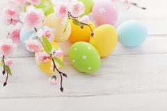 Easter decoration. Colorful easter eggs and spring flowers