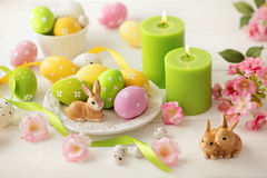 Easter decoration. Colorful easter table decoration and easter bunny Stock Images