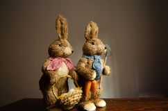 Couple of rabbits with bascet with egs and carrots royalty free stock photography