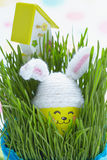 Easter decoration with cute egg in bunny hat Stock Photography