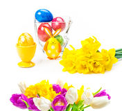 Easter decoration, easter egg, spring flowers Stock Photo
