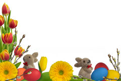 Easter decoration with easter rabbits Stock Photo