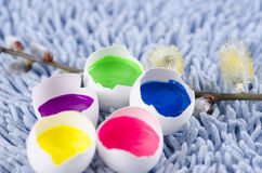 Easter decoration with egg shells and spring flowers. Easter colorful decoration with egg shells and spring flowers royalty free stock photo