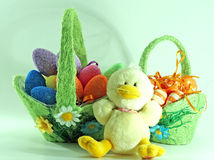 Easter decoration with eggs. And a baby chicken toy Stock Photo
