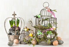 Easter decoration with eggs, birds, flowers Stock Image