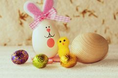 Easter decoration with eggs and brood Stock Photo