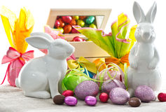 Easter decoration. eggs and bunnies Royalty Free Stock Photos