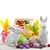 Easter decoration. eggs and bunnies Royalty Free Stock Image