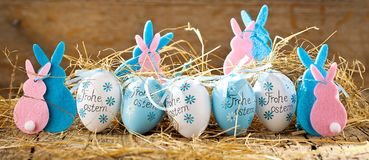 Easter decoration eggs cute bunny. Happy Easter. Vintage style t stock photos