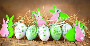 Easter decoration eggs cute bunny. Happy Easter. Vintage style t royalty free stock photos