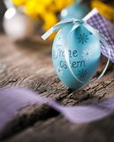 Easter decoration eggs cute bunny. Happy Easter. Vintage style t. Oned picture Text in GErman HAPPY ESTER royalty free stock photos