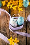 Easter decoration eggs cute bunny. Happy Easter. Vintage style t royalty free stock image