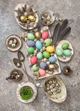 Easter decoration eggs and feather. Bohemian style Royalty Free Stock Photography