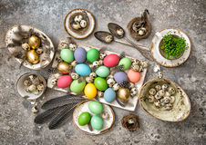 Easter decoration eggs and feather. Holidays background Royalty Free Stock Photos