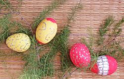 Easter Decoration with Eggs and Fir Twigs Stock Images