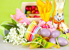 Easter decoration. eggs and flowers Royalty Free Stock Photo