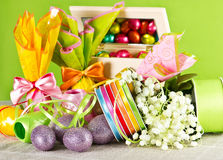 Easter decoration. eggs and flowers Royalty Free Stock Photography
