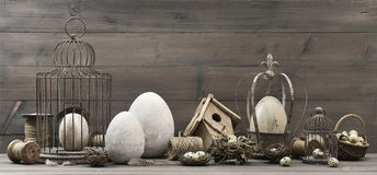 Easter decoration with eggs, nest and birdcage Stock Images