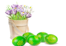 Easter decoration with eggs and pink crocuses Royalty Free Stock Photos