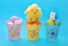 Easter decoration with eggs in three buckets Royalty Free Stock Photos
