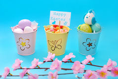 Easter decoration with eggs in three buckets Stock Photography