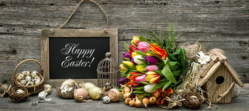 Easter decoration eggs tulip flowers vintage Royalty Free Stock Photos
