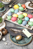 Easter decoration. Festive vintage table place setting Royalty Free Stock Photo