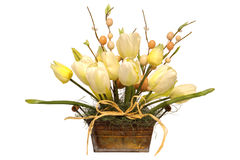 Easter Decoration Flower Bouquet in Can Isolated Royalty Free Stock Images